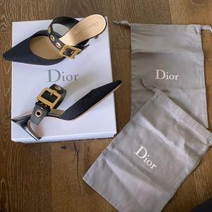 D-Dior Technical Fabric And Leather Mules